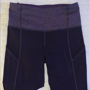 Lululemon Purple Pant with Striped Waist Band